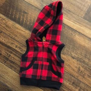Buffalo check red hooded vest.